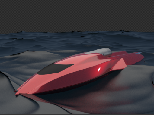 Space Age Jet Boat – 3D Rending